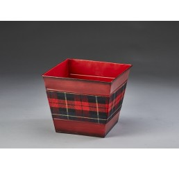 """Square Metal Container with Plaid Insert - 5"""""""