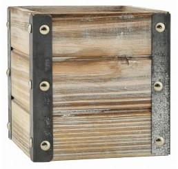"White Wash Wooden Cube w/Metal Corners - 5"""