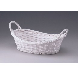 Oval Tray with Ear Handles - Split Willow - Painted White