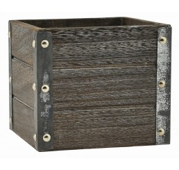 """Brown Stain Wooden Cube w/ Metal Corners - 4"""""""