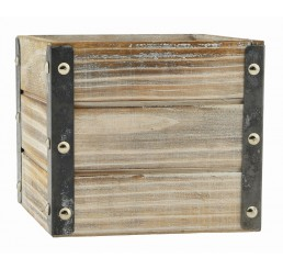 "White Wash Wooden Cube w/Metal Corners - 4"""