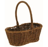 Unpeeled Willow Peanut-Shaped Basket with Handle