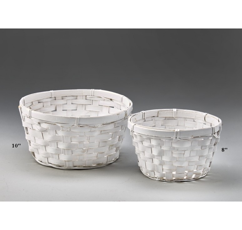 White Washed Bamboo Bowl - 8""