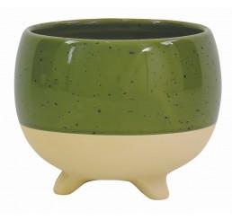 Tan/Speckled Green Ceramic Planter - Sm