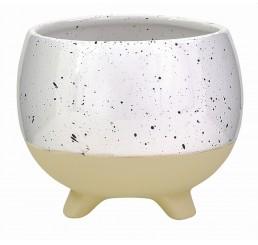 Tan/Speckled White Ceramic Planter - Sm