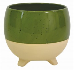 Tan/Speckled Green Ceramic Planter - Lg  *Very Low Inventory