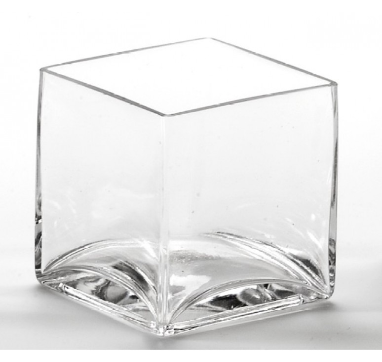 "4"" Hand Blown Glass Cube"
