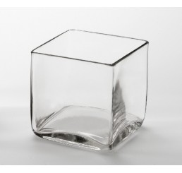 "5"" Hand Blown Glass Cube"