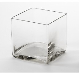 "6"" Hand Blown Glass Cube"