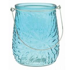 Embossed Glass Vase with Metal Handle - Caribbean Blue