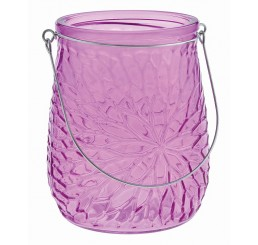 Embossed Glass Vase with Metal Handle - Orchid