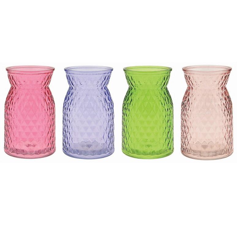Diamond-Pattern Glass Vase - Spring Assortment