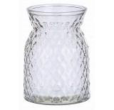 Diamond-Pattern Glass Vase - Clear