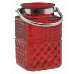 Red Embossed Glass Vase
