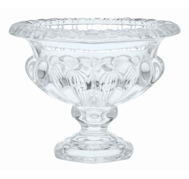 "Ribbed Glass Pedestal Vase - 6.25"" Tall"