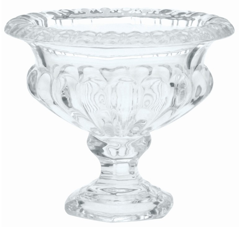 "Petite Ribbed Glass Pedestal Vase - 4.5"" Tall"
