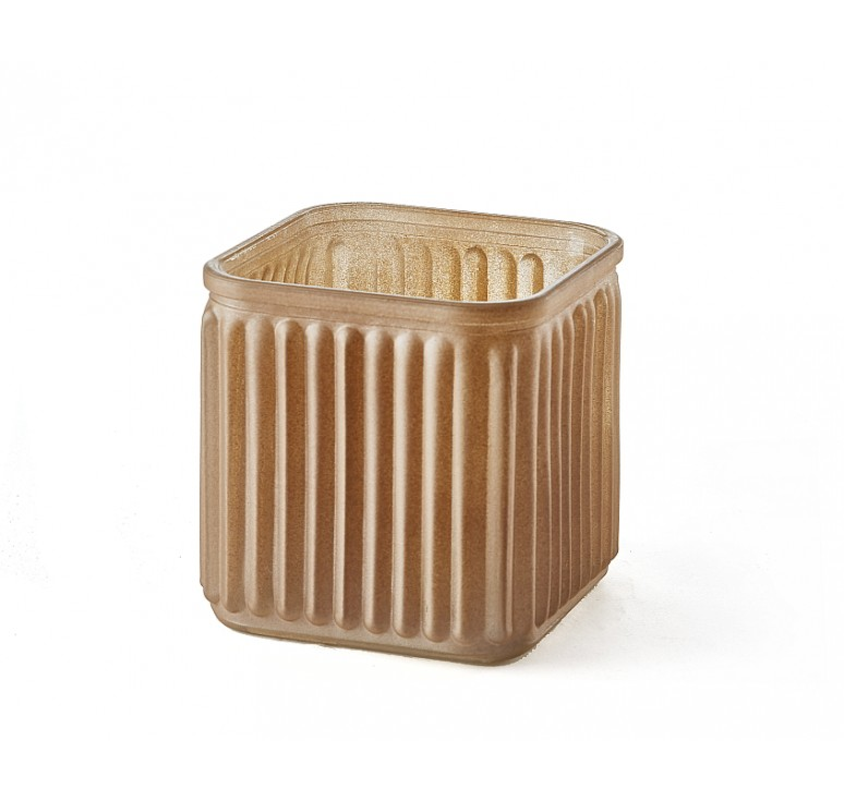 Ribbed Glass Cube-Champagne