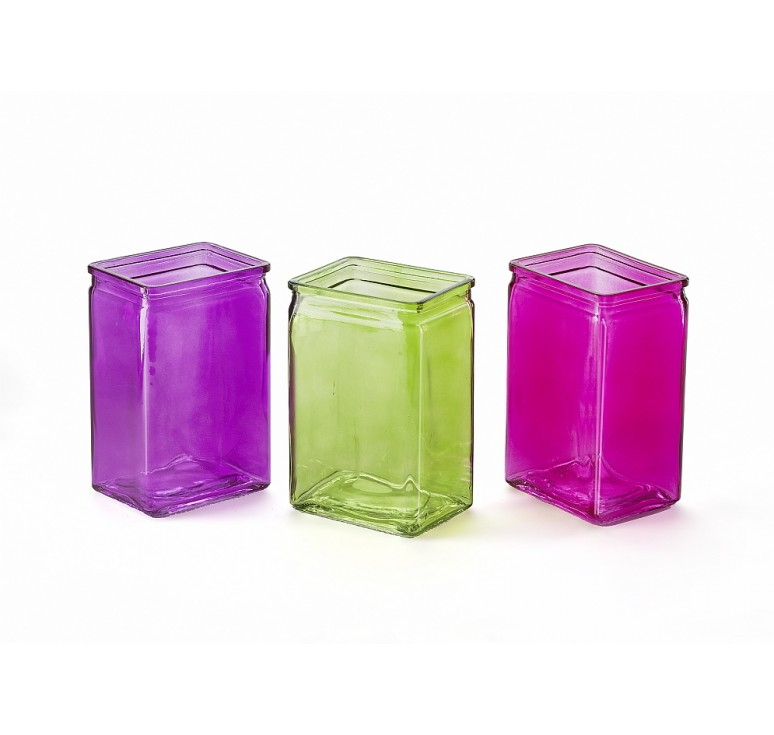 Three Assorted Color Rectangular Glass Vase