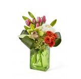 Three Assorted Color Rectangular Glass Vase