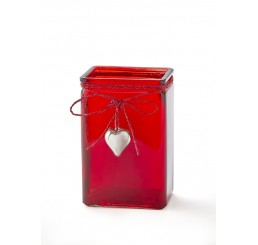 Rectangular Glass Vase - Red with Metal Heart