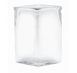 "6"" Tall Machine Glass Vase - Square Opening"