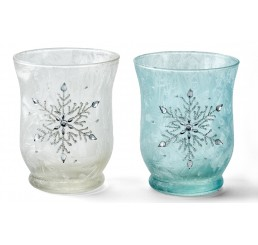 Frosted Glass Vase with Snowflake Design