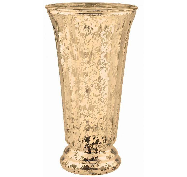 Ribbed Flare Glass Vase - Gold Mercury