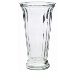 Ribbed Flare Glass Vase - Clear