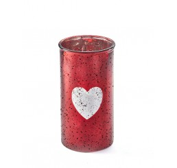 Cylinder Glass Vase with Etched Heart *Very Low Inventory