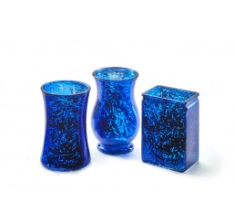 3 Assorted Shape Glass Vase - Blue Mercury    **Item Can Not Ship UPS