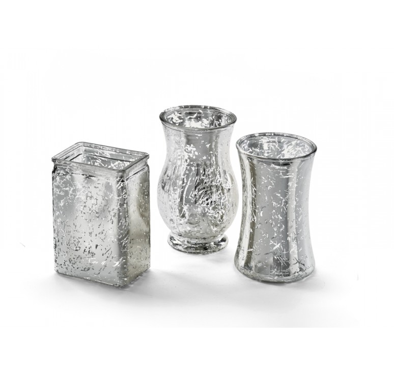 3 Assorted Shape Glass Vase - Silver Mercury