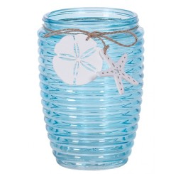 Ribbed Glass Vase with Seashell Tie