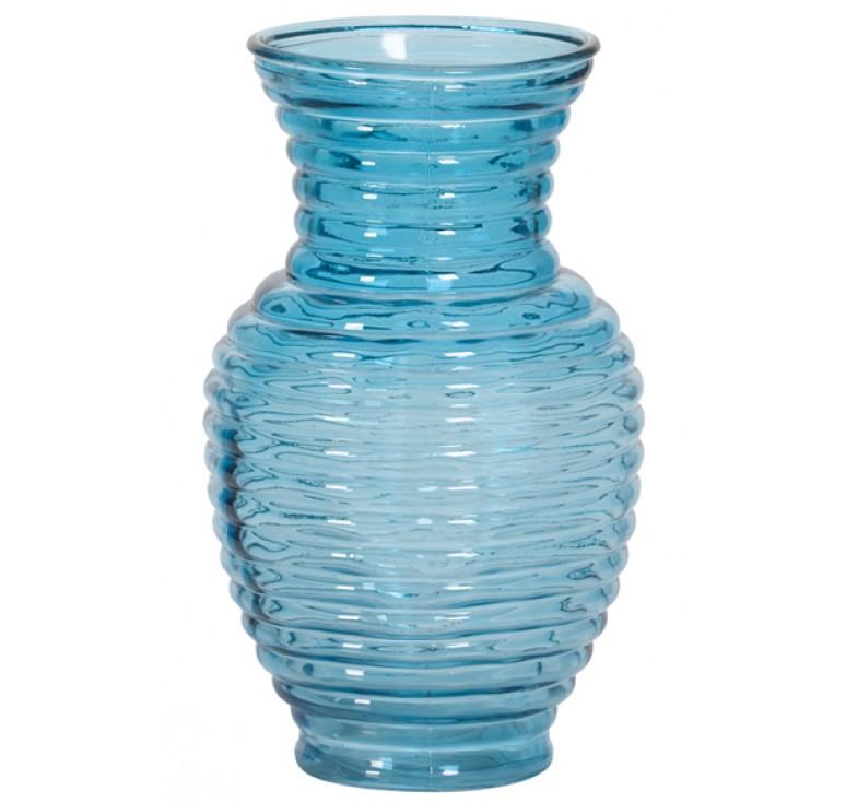 Ribbed Glass Vase - Turquoise