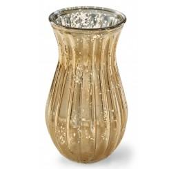 Ribbed Glass Vase - Gold Mercury