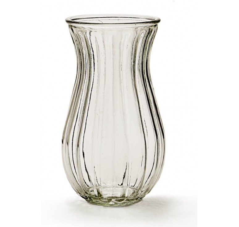 Ribbed Glass Vase - Clear