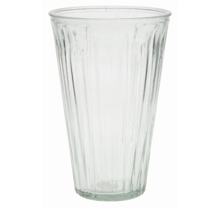 Large Ribbed Glass Vase - Clear