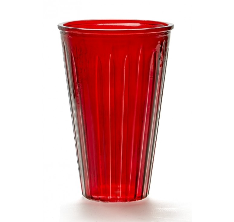 Large Ribbed Glass Vase - Red