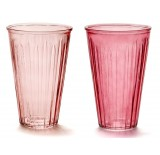 Large Ribbed Glass Vase - 2 Assorted
