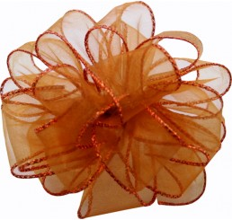 #9 Sheer, Wired-Edge Ribbon-Copper