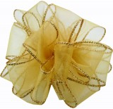 #40 Sheer, Wired-Edge Ribbon-Gold