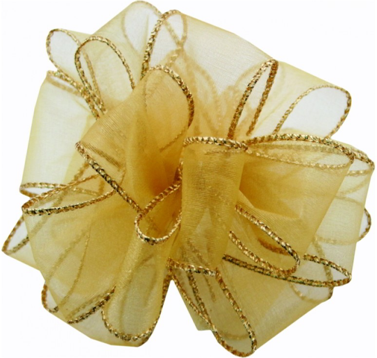 #9 Sheer, Wired-Edge Ribbon-Gold