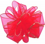#40 Sheer, Wired-Edge Ribbon-Red w/Gold