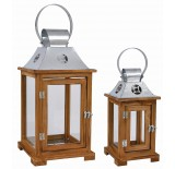 Decorative, Set/2 Wooden Lanterns with Galvanized Top