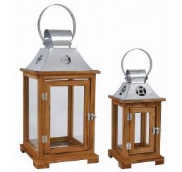 Decorative, Set/2 Wooden Lanterns with Galvanized Top