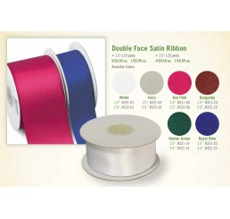 "Double Faced Satin Ribbon; 1.5"" Width"