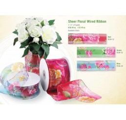 Sheer Floral Ribbon with Wired Edge