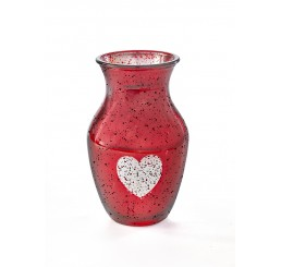 Hourglass-Shaped Glass Vase with Etched Heart