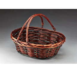 Brown Stain Oval Willow with Double Drop Handles