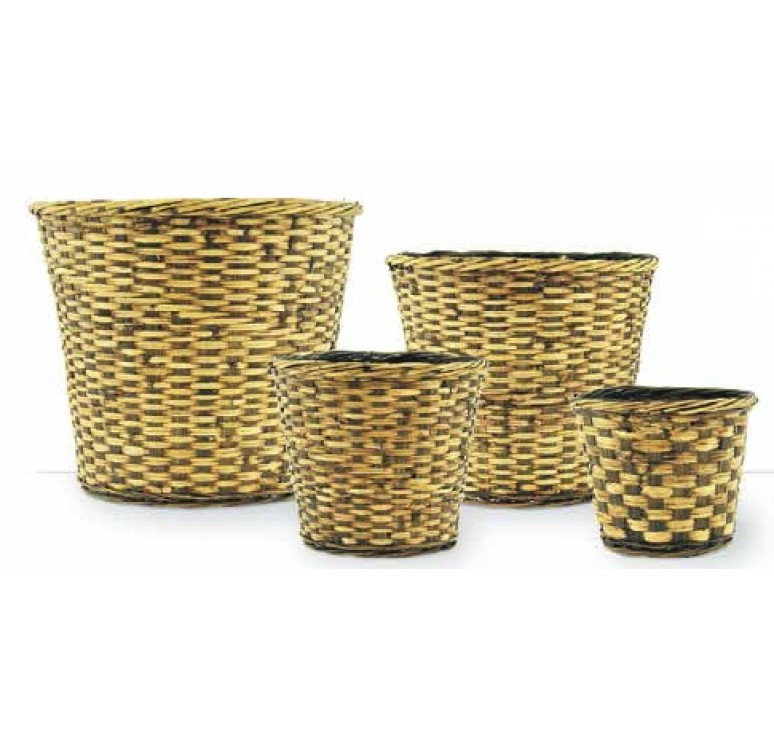 Brown Stain Faux Rattan Planter - Fits 12""