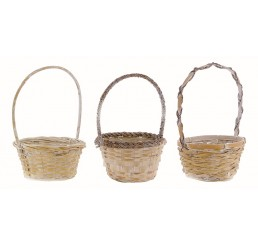 "10"" White Wash Round Bamboo Basket"